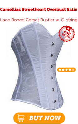 Camellias Sweetheart Overbust Satin Lace Boned Corset Bustier w. G-string