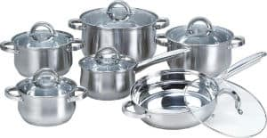 Heim Concept 12-Piece Stainless Steel Cookware Set with Glass Lid