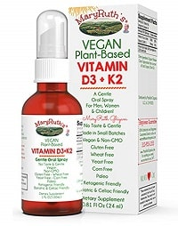 Mary Ruth's Vegan Plant-Based Vitamin D3 + K2
