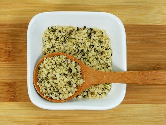 hemp seeds in bowl with spoon