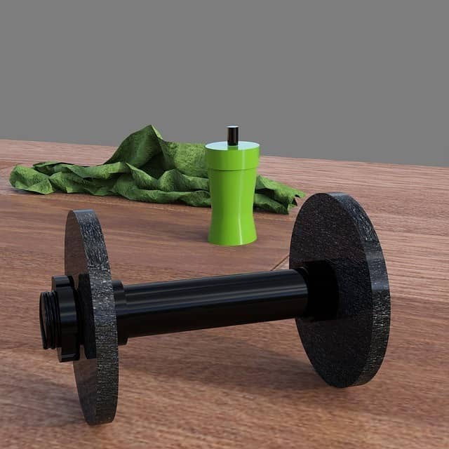 dumbbell with towel and water bottle on floor