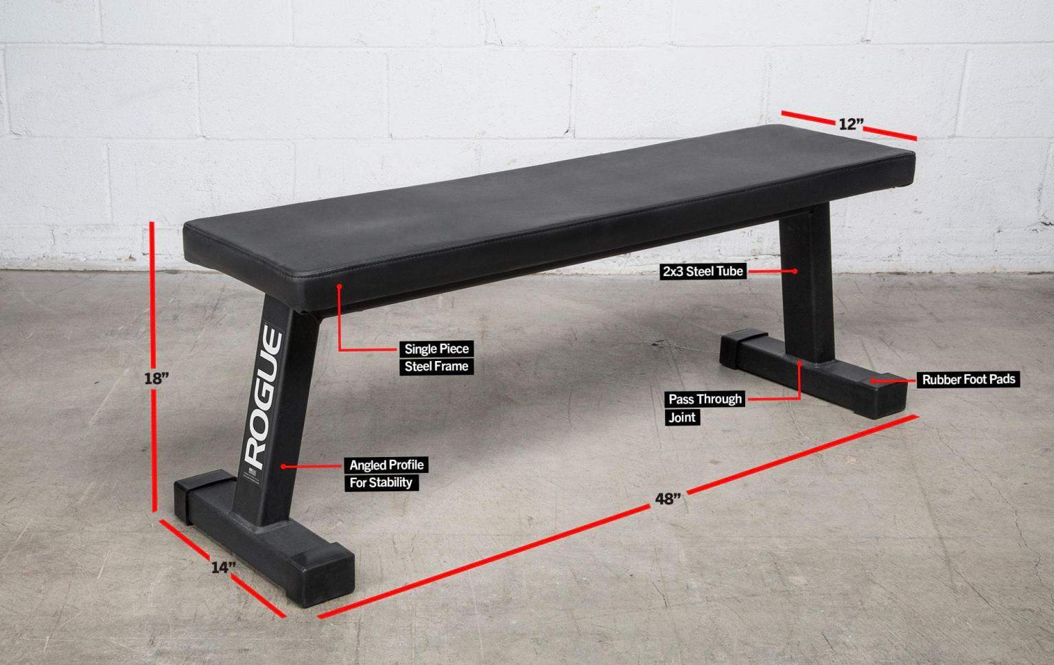 rogue fitness flat utility bench 2.0 with captions
