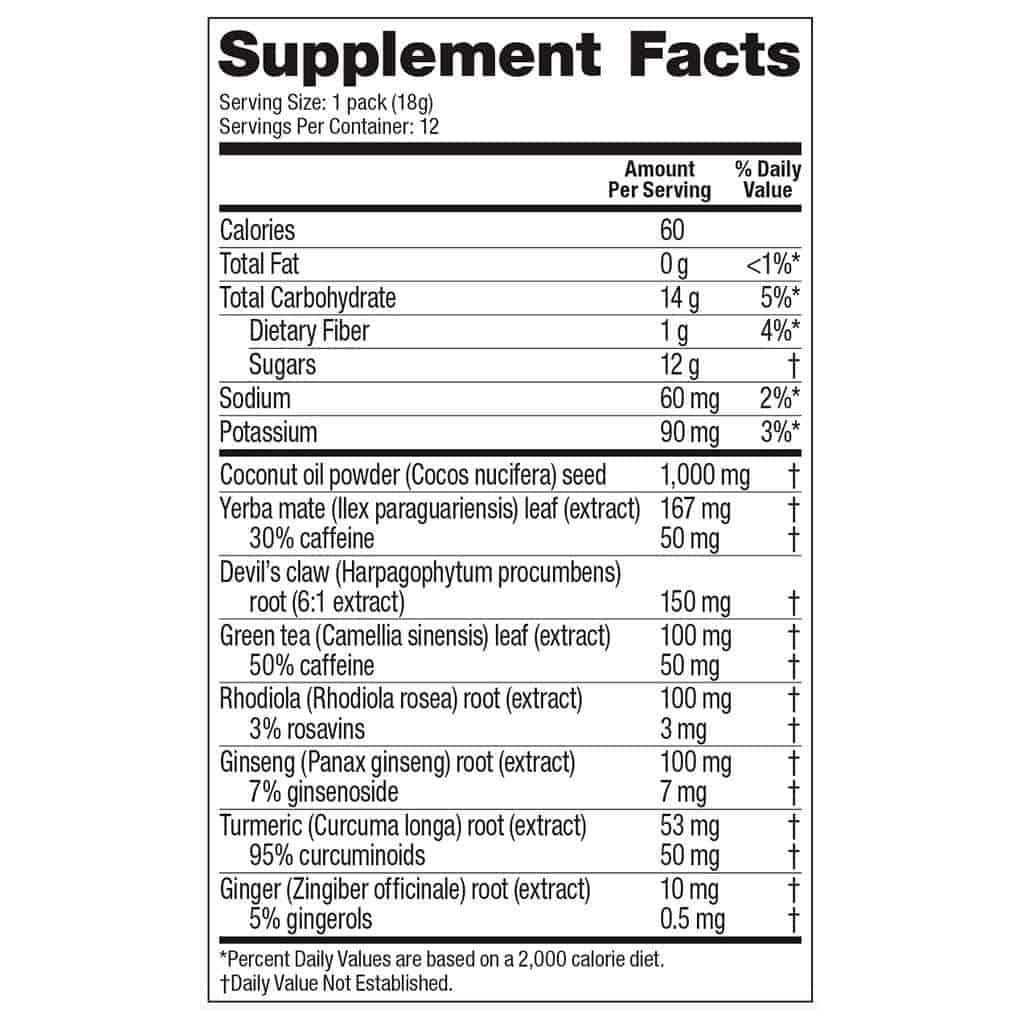 vega sport energizer nutrition label