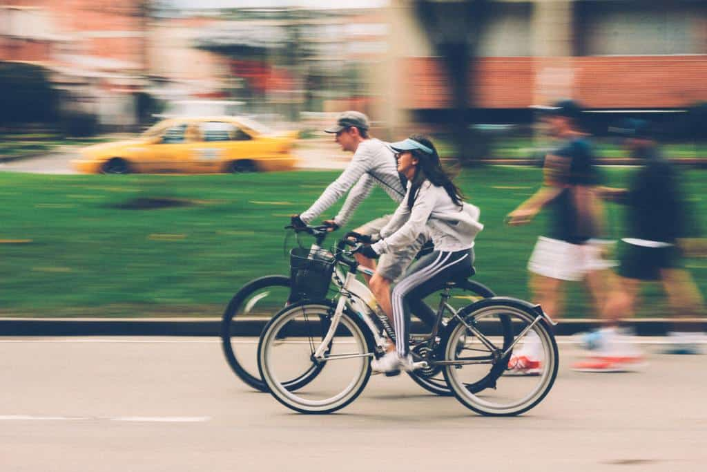 active couple biking
