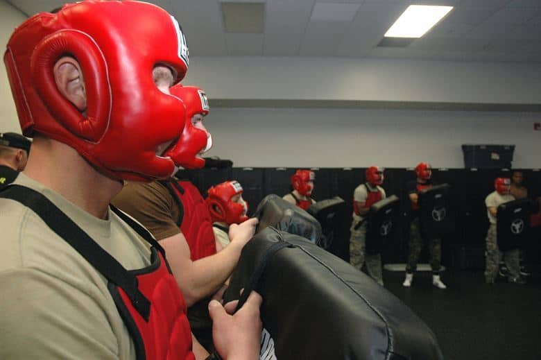 Group of men wearing headgears ready for training