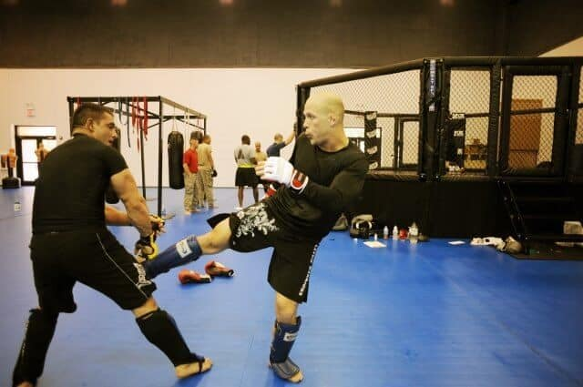 sparring session in full gear