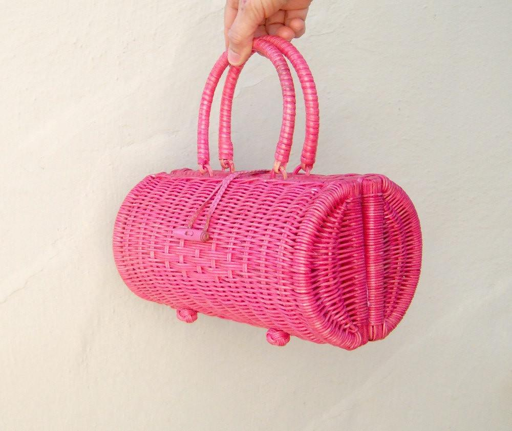 bright pink wicker bag