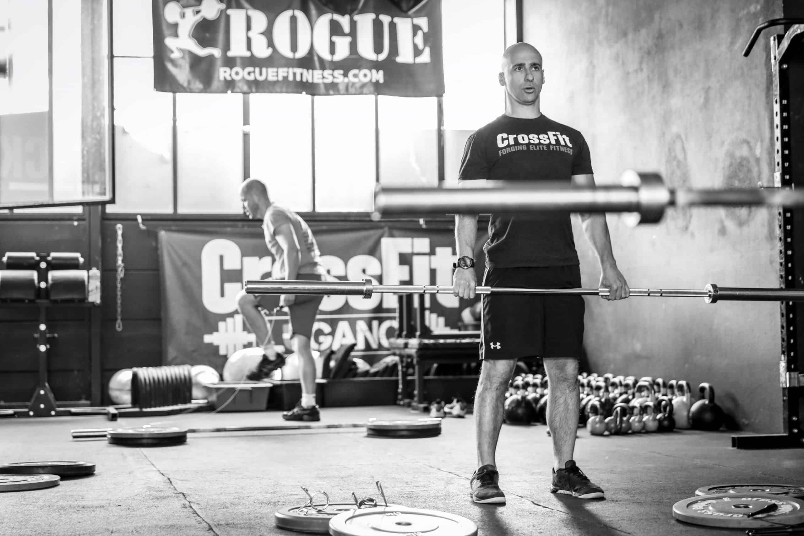 crossfit barbell training at the gym