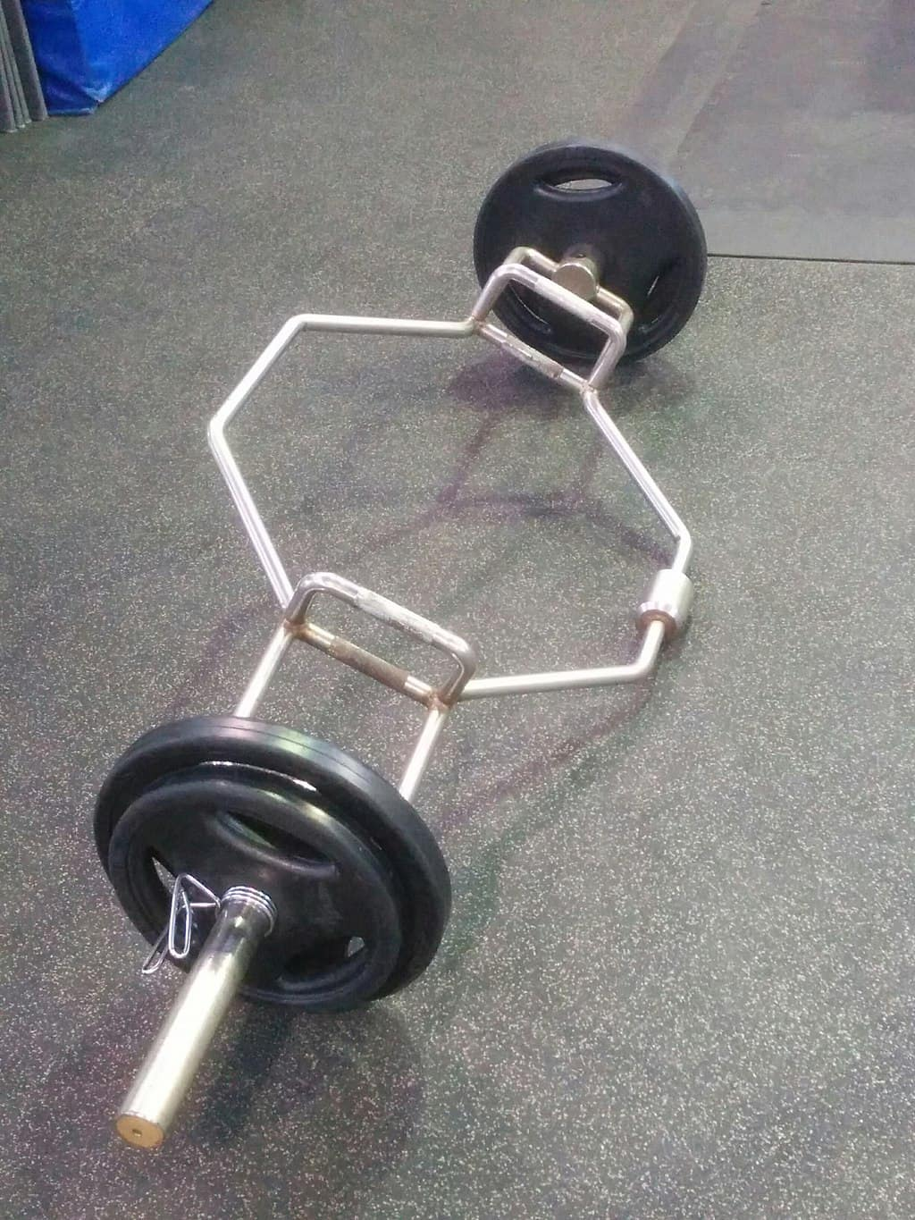 a hex bar with weight plates loaded
